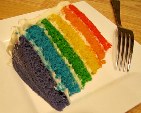 2 Layer Cake Designs http://kitchen-tested.com/2011/05/03/rainbow-layer-birthday-cake/