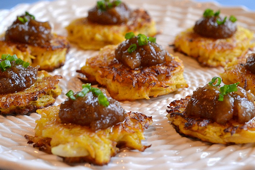 KITCHEN TESTED – Carnival Squash Latkes with Homemade Apple Butter