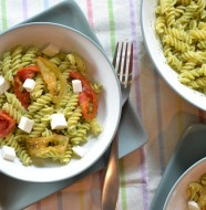 Jalapeno Pesto Pasta with Roasted Tomatoes and Fresh Mozzarella