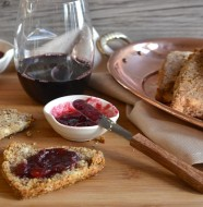 Almond Goat Cheese Scones with Red Wine Cranberry Sauce