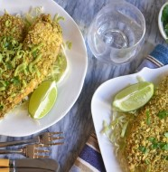 Tortilla Chip Crusted Tilapia with Avocado Compound Butter