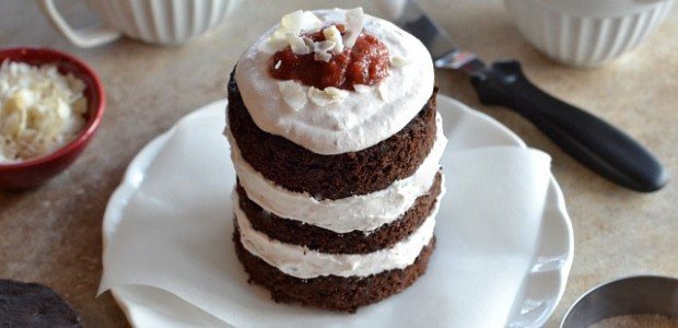 Mini Chocolate Layer Cake with Strawberry Rhubarb Filling