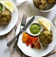 Stuffed Mini Peppers with Artichokes & Spinach Pesto
