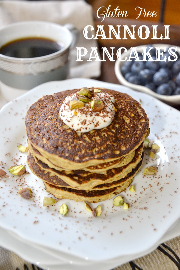 Home » Breakfast » Gluten Free Cannoli Pancakes