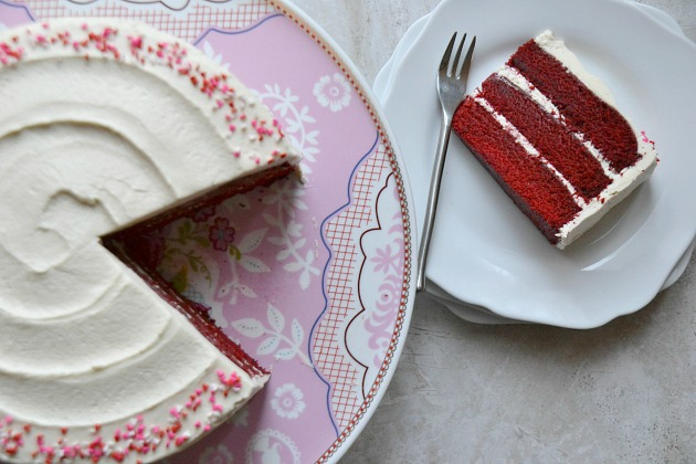 Classic Red Velvet Cake Old Fashioned White Frosting