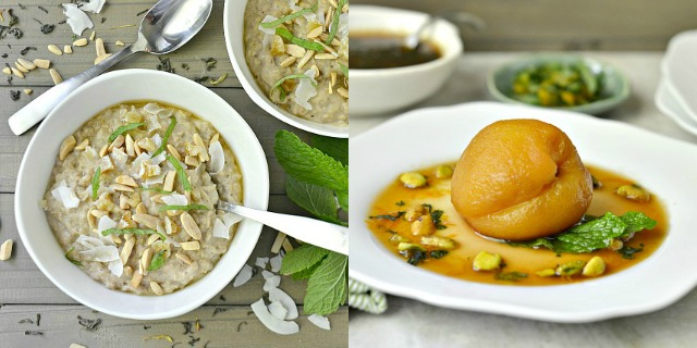 New Ways To Go Green With Tea: Green Tea Poached Peaches and Oatmeal