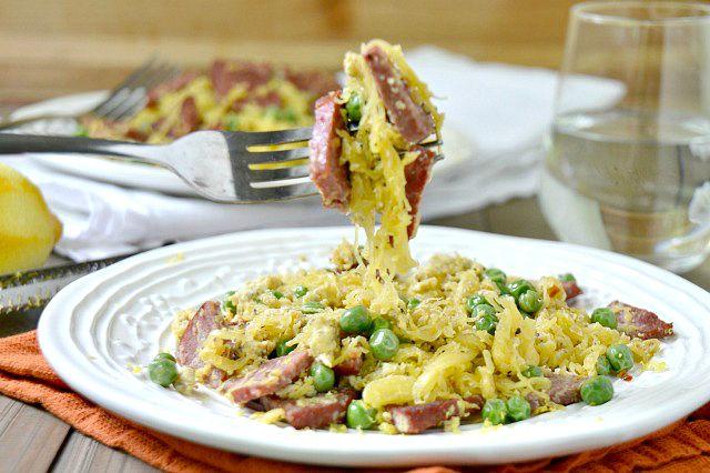 Salami Spaghetti Squash Carbonara