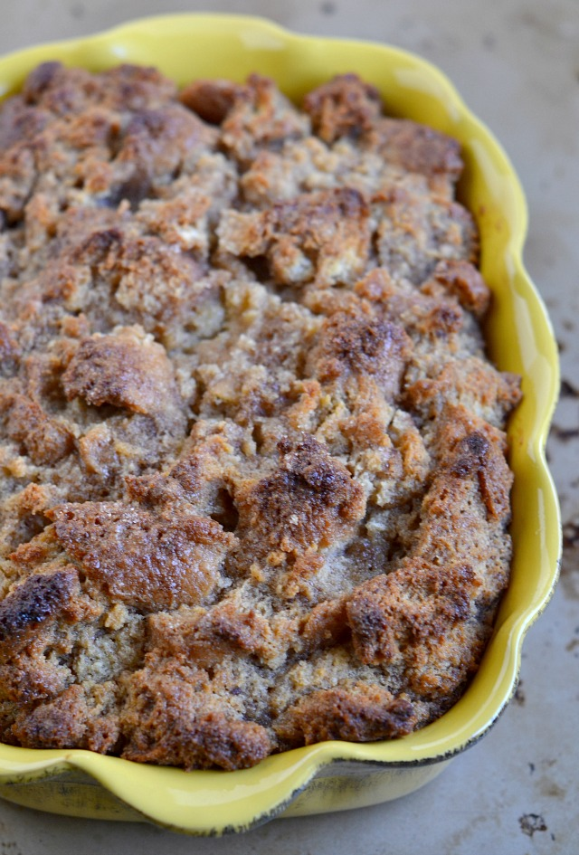 Cake Donut Bread Pudding with Vanilla Glaze