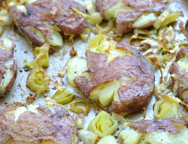 Roasted Smashed Potatoes with Leeks