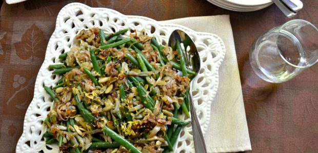Green Beans with Schmaltz Fried Shallots