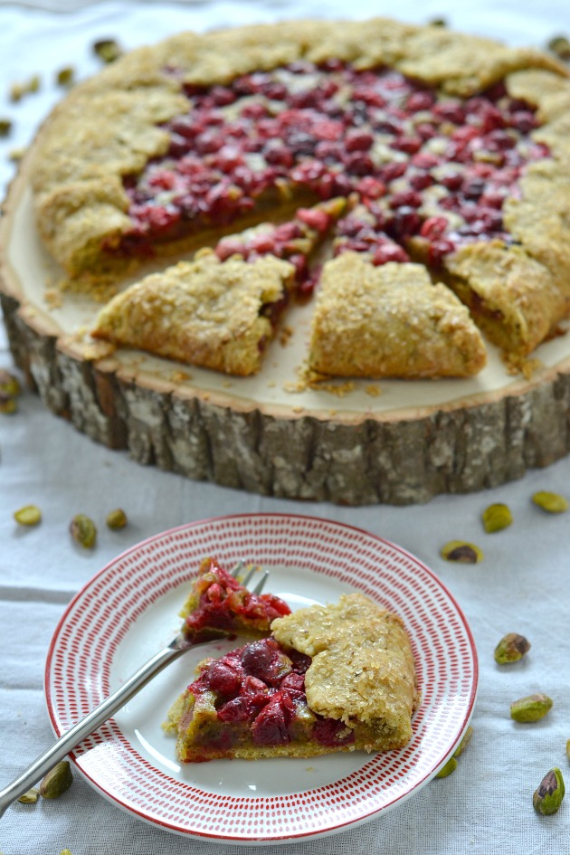 Cranberry Frangipane Galette with Pistachio Crust