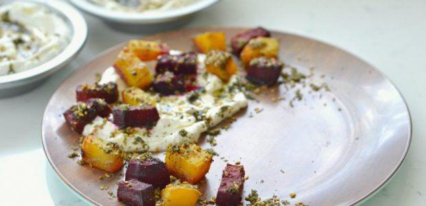 Goat Cheese Labneh with Za'atar Roasted Beets