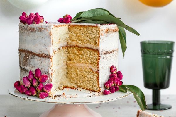 Orange Cardamom Cake with Rose Buttercream