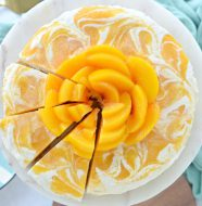 Peaches and Cream Frozen Yogurt Cheesecake