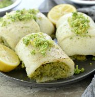 Broccoli Pesto Stuffed Flounder with Broccoli Gremolata
